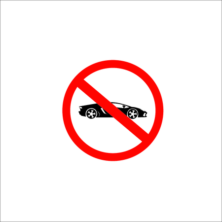No parking no sport car sign. Vector Illustration  イラスト・ベクター素材