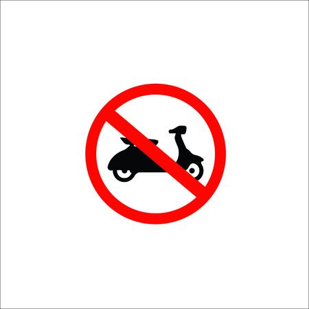No motorcycle or no parking sign,prohibit sign. Vector Illustration Illustration