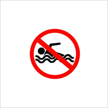 No swimming sign. Vector Illustration