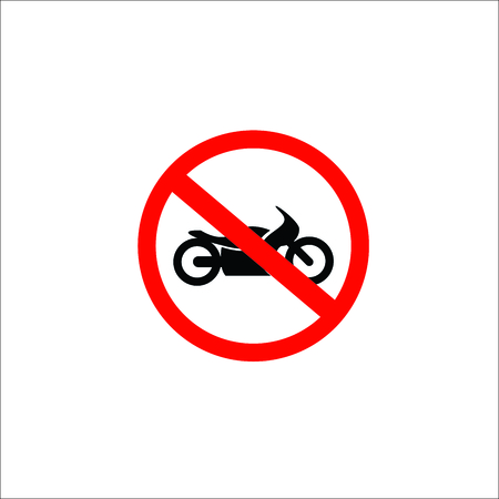 No motorcycle or no parking sign,prohibit sign. Vector Illustration Ilustração