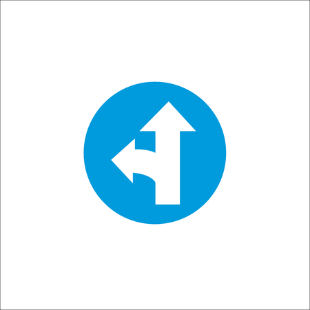 Road sign. Left and straight arrow Illustration