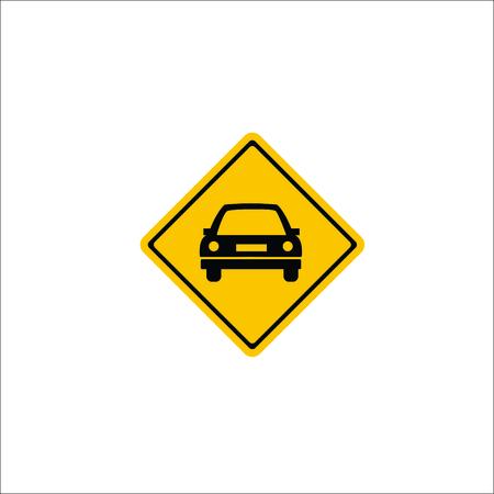 Road sign. Car warning icon Illustration