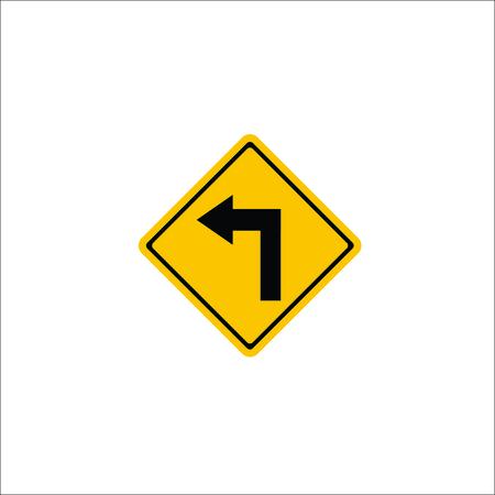 Road sign. Left arrow icon. Vector Illustration