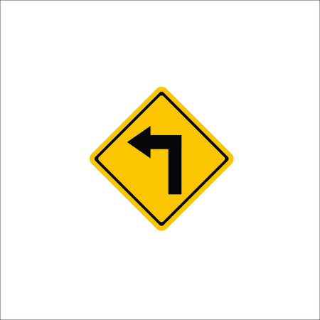 Road sign. Left arrow icon. Vector Illustration
