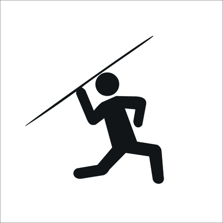 Athlete javelin thrower icon Illustration