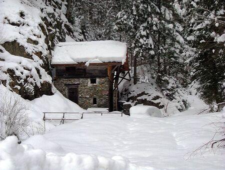 Strajacher Muhle in winter in Lesachtal