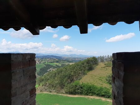 From the stands of the tower to look at the horizon of hills Stock fotó