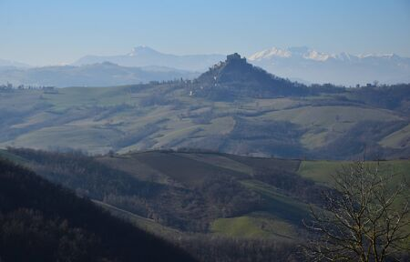 The defensive fortification of the Castle of Rossena isolated on the rock dominates the valley