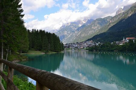 Artificial lake of Auronzo, located in Cadore at 864 meters high