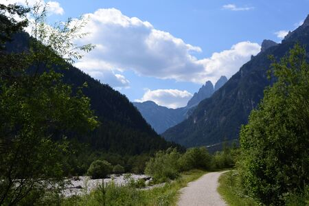 Bike path along the Ansiei river, leads from the village of Auronzo to Misurina