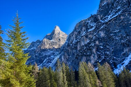 The tower in the Sasso del Signore group near Lake Braies Reklamní fotografie