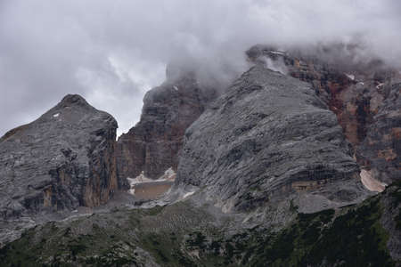 Detail of the rocky massifs of the Croda Rossa