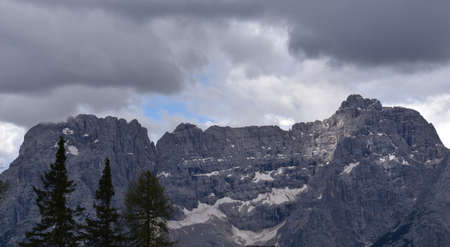 Particular of the peaks of the Sorapis group, the highest peak reaches 3141 meters of altitude