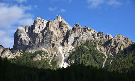 The rocks of Picco Vallandro in the lights of a summer afternoon