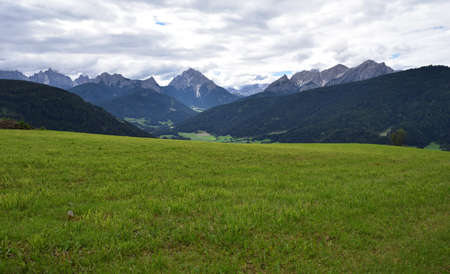 Green meadow in front of Picco Vallandro and the mountains of the Braies valley