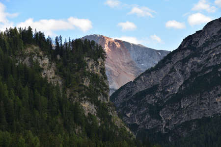 Wall of the Croda Rossa from a gorge of the old Braies valley