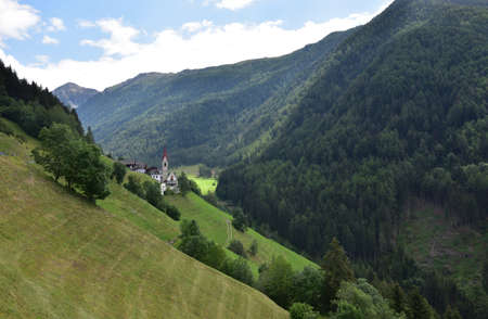 Riomolino valley, about 1500 meters high in the mountains a few kilometers from the important town of Brunico Stock Photo