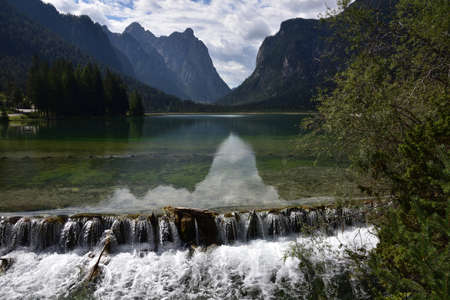 Waters coming out of Lake Dobbiaco