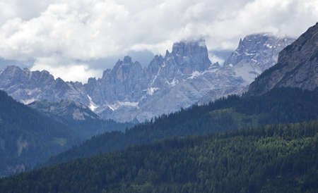 Cloudy day on the Cristallo group of the Dolomites Stock Photo