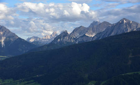From the town of Tesido, view of Monte Pollice and Sasso del Signore with part of the Cristallo group in the background