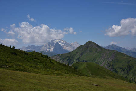 The queen of the Dolomites, the Marmolada 3343 meters high, seen from Passo Giau