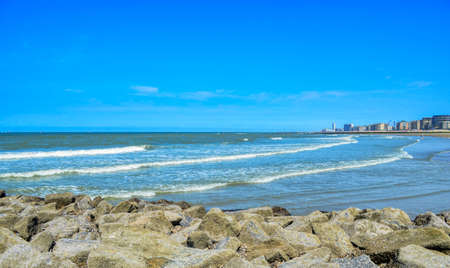The North Sea in front of the Belgian city of Ostend, located in the Flemish province of West Flanders a few kilometers from the border with France Stock Photo