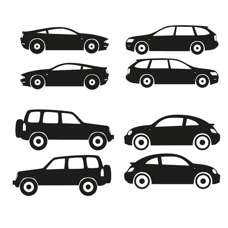 Set of vector cars silhouette, black Vector