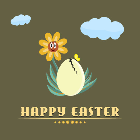Fully vector (eps10) Happy easter background or card in flat retro design Vector