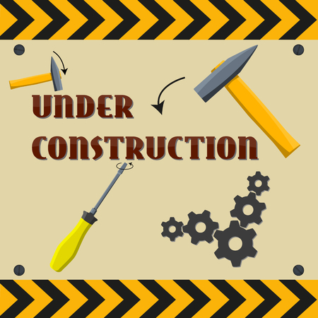 vector sign under construction: Fully vector Under construction sign or background
