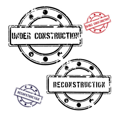 reconstruction: Set of Under construction and Reconstruction fully vector rubber stamps