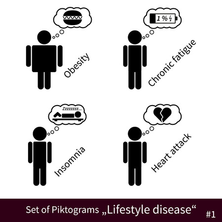 lifestyle disease: Fully vector Set of Lifestyle disease black pictograms #1
