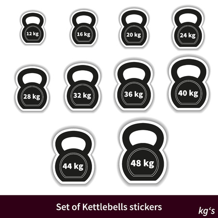 kg: Fully vector Set of Kettlebells stickers, various weights (kg)