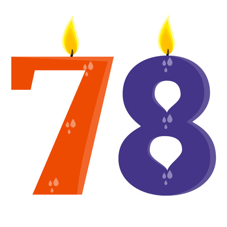 7 8: Fully vector set of stylized birthday candles (7,8), orange and violet