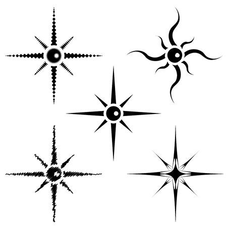 Fully vector set of stars shapes, black Vector