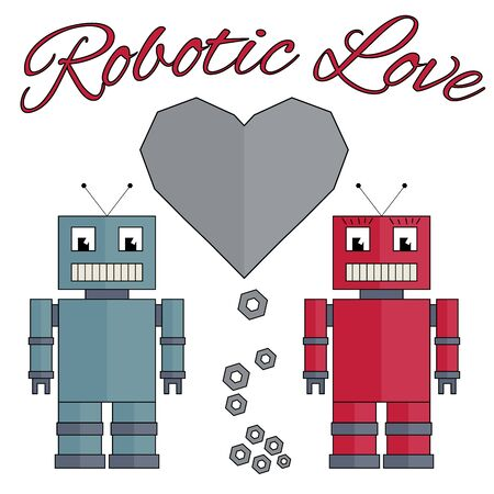Fully vector robots with heart; Robotic love Vector