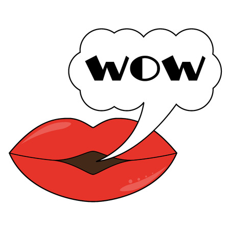 Fully vector lips wit speech bubble wow text Vector