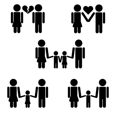 family isolated: Fully vector isolated family pictograms Illustration
