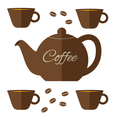 coffeepot: Fully vector flat coffeepot illustration with set of cups in brown color