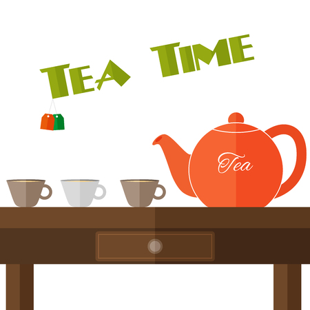 Fully vector flat teapot illustration with set of cups in colors on the wooden table