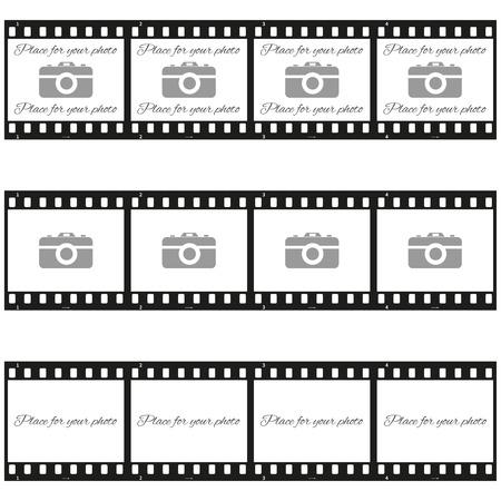 """Completamente vector Conjunto de tres plantillas de """"lugar para su foto"""" con cámara de fotos en tira de película"""