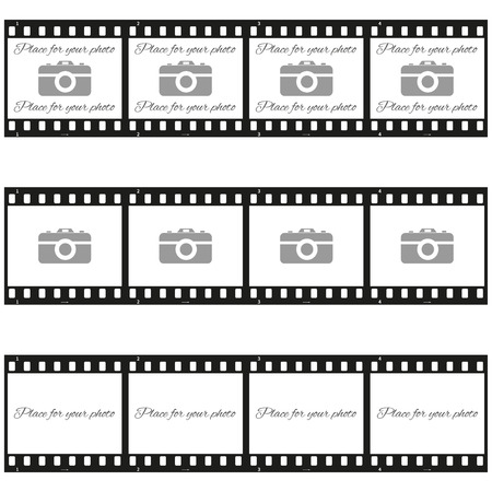 Fully vector Set of three place for your photo templates with photo camera in filmstrip Ilustração