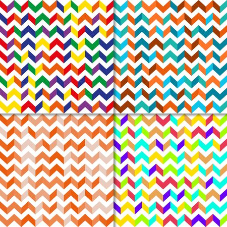 zig zag: Fully vector set of seamless pattern with zig zag lines, random color