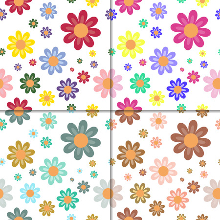 blooms: Fully vector set of seamless patterns with flowers blooms