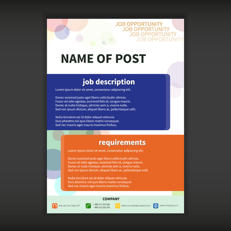 job opportunity: Fully vector Job opportunity template with bokeh effect Illustration