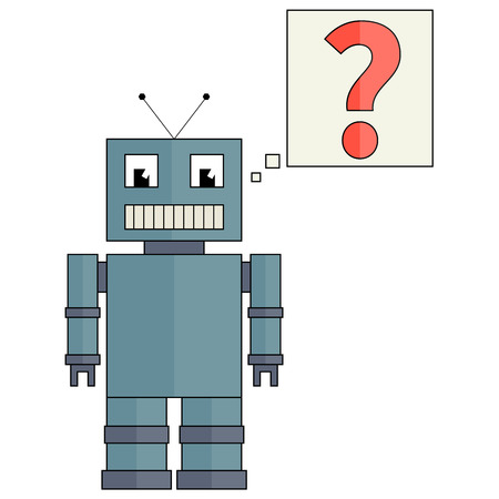 issue: Fully vector funny robot with red question mark, flat design Illustration
