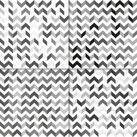 zig zag: Fully vector set of seamless pattern with zig zag lines, shades of grey Illustration