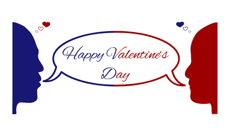 Valentine's day card, red silhouette of woman's face and blue silhouette of man's face