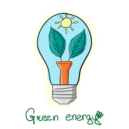 sun energy: stylized Green energy lightbulb with leaves and sun