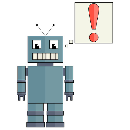 funny robot: Fully funny robot with red exclamation mark, flat design