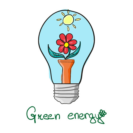 bloom: stylized Green energy lightbulb with flower bloom and sun Illustration